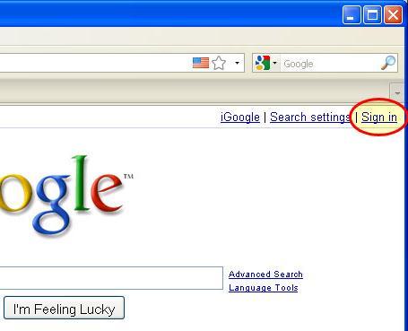 الذهاب لموقع Google