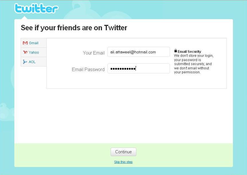 أعطِ كلمة مرور بريدك لـTwitter ليسهل عليك إضافة أصدقاؤك