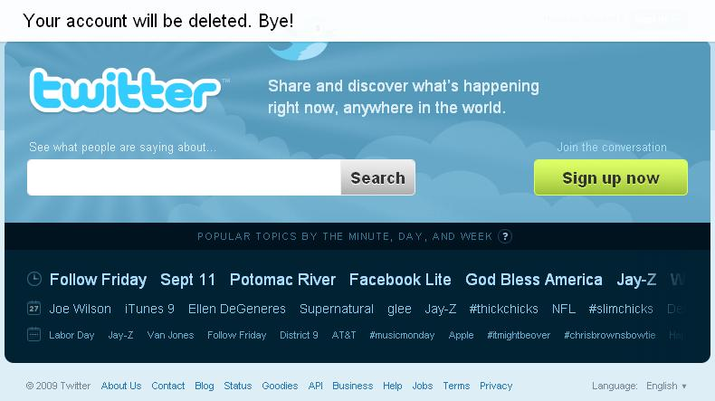 تم حذف حسابك