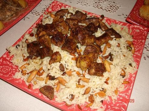 طبق أرز بلاو بالخلطة والقلايا