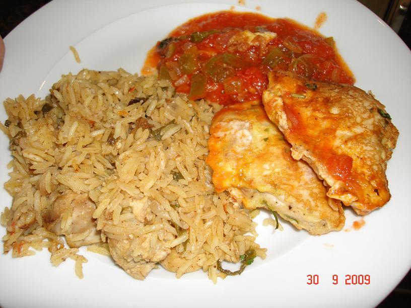 صلصة، إسكالوب دجاج، أرز