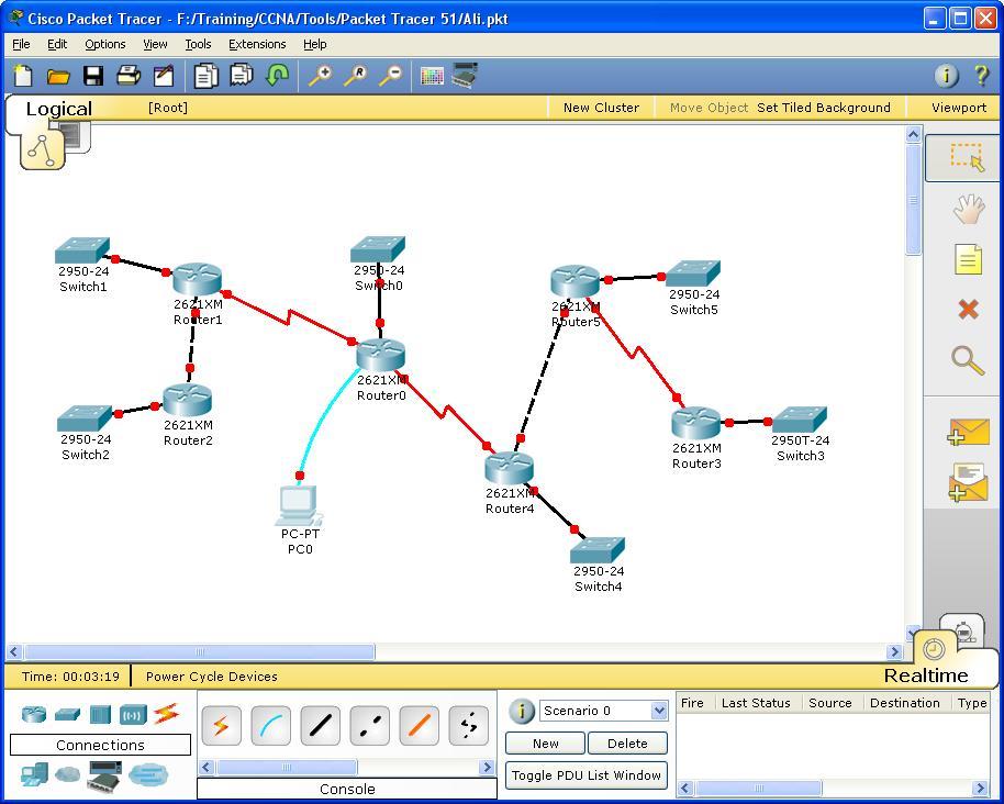 برنامج Packet Tracer وتنفيذ شبكة تعمل على OSPF
