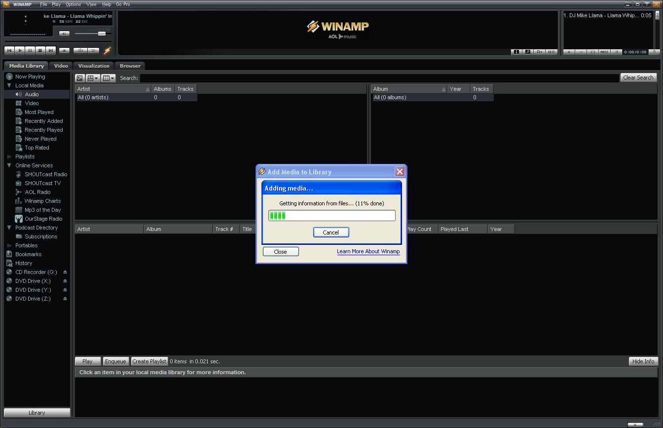 البرنامج WinAmp يقوم بتحليل ملفات الموسيقى في جهازي
