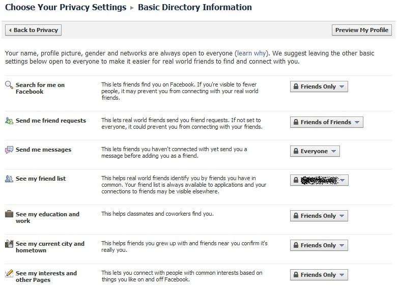 تعديلات الخصوصية البسيطة