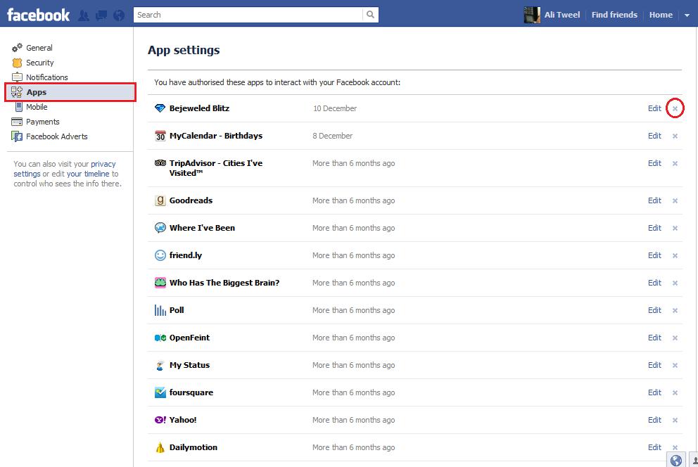 قائمة التطبيقات في فيسبوك