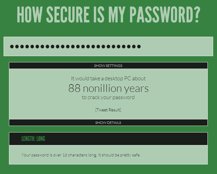 howsecurismypassword